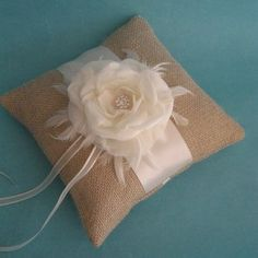 Burlap and Ivory Rose Feather Ringbearer Pillow  :)