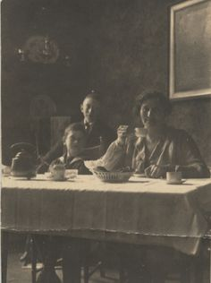 Mother and sons drinking coffee, no date. Bought in a junk shop in Helsinki, 12/2013