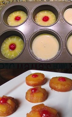 Mini Pineapple Upside Down Cakes!  Made these this morning to take to work for a treat.  Nothing but rave reviews!  They are delicious and quite easy to make.