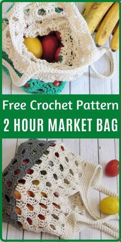 This crochet market bag free pattern comes in a small and big size. This reusable go green tote is designed using 100% cotton yarn. The tutorial is easy enough for beginners. #crochetmarketbag, #crochetmarketbagfreepattern, #crochetmarkettote, #crochetcottonmarketbag Bag Crochet, Crochet Market Bag, Crochet Diy, Quick Crochet, Crochet Handbags, Crochet Purses, Cotton Crochet, Crochet Crafts, Crochet Projects