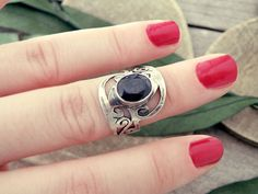 Blue corundum ring faceted stone ring stone ring by CarmelaRosa