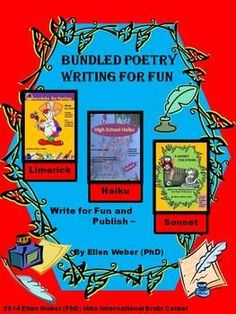 Celebrate poetry month with this Bundled Poetry Writing~ Fun to Publication! Students enjoy writing limericks, haiku and sonnets and then dedicate their work to friends or family!