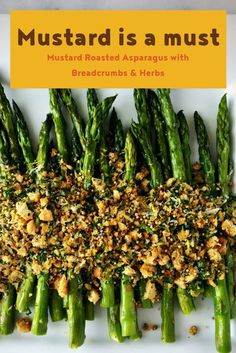 Tender asparagus, salty cheese, crisp crumbs, zesty mustard and aromatic herbs make this a stellar side dish. #Asparagus #breadcrumbs #spreadthemustard Asparagus Side Dish, Asparagus Recipe, Mustard Recipe, Appetizer Recipes, Salad Recipes, Best Brunch Recipes, Favorite Recipes, Aromatic Herbs, Bread Crumbs
