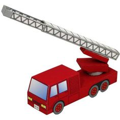 Free Printable 3 D Paper Fire Truck Great For Kids Teachers And Parents G P Pinterest