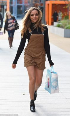 Looking good: Jade Thirlwall made the most of her petite figure in suede dungarees and patent ankle boots