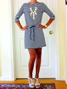 Navy Striped Dress    simply-katelyn:    seabelle:OOTD!