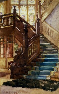"""Staircase"" (1883), by Swiss artist - Albert Anker (1831-1910), Watercolor, Dimensions unknown, Location unknown."