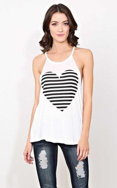 #FashionVault #styles for less #Women #Tops - Check this : Striped Heart Knit Tank - SML - Ivry/Natrl in Size Small by Styles For Less for $14.99 USD
