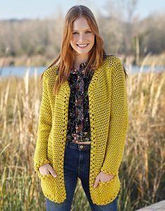Free crochet pattern. Pattern category: Jackets. DK weight yarn. 1500-1800 yards. Features: Bobble stitch, Pockets, Seamed. Intermediate difficulty level.
