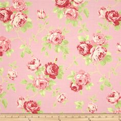 Lulu Roses Lulu Pink from @fabricdotcom  Designed by Tanya Whelan for Free Spirit, this cotton print is perfect for quilting, apparel and home decor accents.  Colors include white, shades of green and shades of pink.