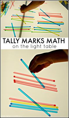 Tally marks on the light table: elementary math activity for kids from And Next Comes L Más Math Activities For Kids, Preschool Math, Math For Kids, Fun Math, Kindergarten Math, Preschool Ideas, Maths, Sensory Table, Sensory Bins