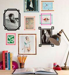 """19 curtidas, 2 comentários - Arte Espelhada (@arteespelhada) no Instagram: """"Olha só que ideia bacana! Para não gastar com uma moldura de vidro e madeira e também quem não gosta de furar as paredes, faça molduras coloridas e divertidas com Washi Tape. Uma boa composição deixará tudo lindo pra decorar seu quarto ou home office!"""" #decoracao #washitape #poster #print #homeoffice"""