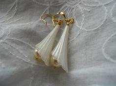 Wedding Earrings Pearls  Flowers by JoJosgems on Etsy, $17.00