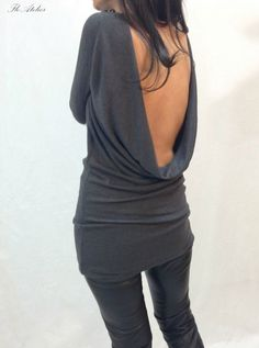 Grey Backless Top/Blouse/Long Sleeve Open Back Slim