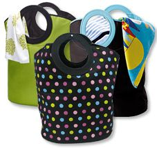 A fabulous laundry bag that is available in vibrant decorator colours, this large and roomy bag will hold a stack of dirty washing while looking great. These great household items are perfect for the laundry, kids' bedrooms or even for the beach. Tough and versatile, they are suitable for clothes, storing toys, games and books, general household items or everything you need at the beach. Polka Dot pattern available 27th March 2013.