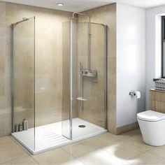 Walk in Shower Enclosure Pack 1400 x 900 - Victoria Plumb The Most Useful Bathroom Shower Shower Tile, Shower Cubicles, Shower Stall, Walk In Shower, Small Bathroom, Bathroom, Bathroom Shower, Bathroom Design, Walk In Shower Enclosures