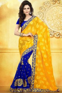 Golden Yellow and Dark Blue Chiffon and Faux Georgette Festival Saree Sku Code:323-4422SA836578 $ 65.00