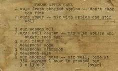 grandma's fresh apple cake this is a recipe my mother got from her mother, who probably got it from her mother and etc. we have apple trees in our backyard and my mom always hunts down this recipe card to make the apple cake, even though im sure she knows Retro Recipes, Old Recipes, Cookbook Recipes, Vintage Recipes, Cooking Recipes, Family Recipes, Cooking Tips, Holiday Recipes, Ethnic Recipes