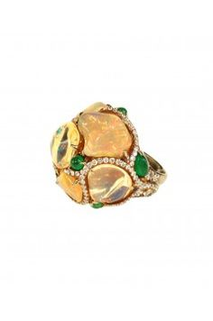 Fire Opal Ring with Emeralds by  Arunashi     judithannjewels.com