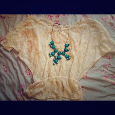 Pretty lace top Cream colored lace batwing top practically new, only worn a couple times. Jenna & Jessie Tops