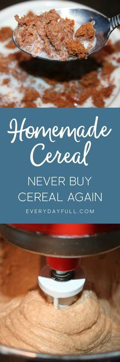 """HEALTHY HOMEMADE CEREAL - Store bought cereal isn't quite the """"healthy breakfast"""" we'd all wish it would be, but this cereal is full of healthy whole grains that have been properly soaked and prepared. Then dehydrated to a crunchy perfection. Top it with raw milk and it's a healthy, filling breakfast that will last you till lunch."""