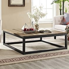 Though you can have conversation without the Modway Attune Patio Iron And Pine Chat Table , it's much more stylish with it. This beautiful table. Black Coffee Tables, Modern Coffee Tables, Large Square Coffee Table, Coffee Table Sets, Iron Coffee Table, Iron Table, Living Room Furniture, Modern Furniture, Home Furniture