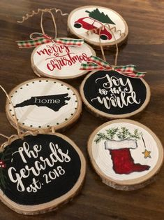 Excited to share this item from my shop: Rustic wood slice, hand painted Christmas Ornaments Christmas Booth, Painted Christmas Ornaments, Wooden Ornaments, Hand Painted Ornaments, Holiday Ornaments, Christmas Gifts, Hand Print Ornament, Christmas Crafts To Sell, Xmas
