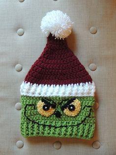Crochet Grinch Hat, Luv Beanies, The Grinch, Christmas hats - long club Crochet Animal Hats, Crochet Beanie, Crochet Hats, The Grinch, Grinch Christmas Party, Christmas Beanie, Crochet Diagram, Free Crochet, Crochet Patterns