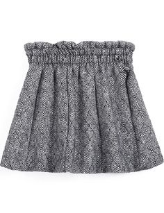 Grey Geometric Pattern Elastic Waist Skirt - Sheinside.com