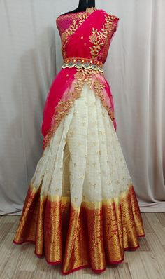 Party Wear Indian Dresses, Pakistani Dresses Casual, Indian Gowns Dresses, Indian Fashion Dresses, Dress Indian Style, Lehenga Saree Design, Half Saree Lehenga, Lehnga Dress, Silk Kurti Designs