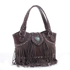 Concealed Carry Western Handbag Purse w  Fringe   Turquoise Concho  7773c69be7d