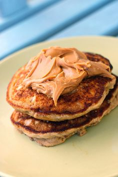 Healthy pancakes for a toddler... Whole wheat, banana chunks, milk, egg, cinnamon served with nut butter