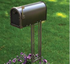 Metal mailbox stand.