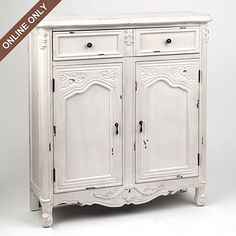 White Versailles Cabinet at Kirkland's  Online only $349.99  For the hallway.