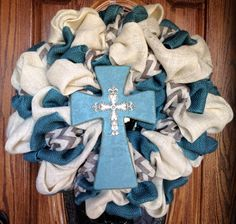 Cream and turquoise blue burlap wreath with cream and black chevron and turquoise cross via Etsy