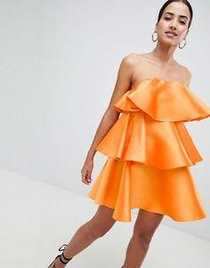 d6c43e1e883 ASOS DESIGN Tiered Ruffle Bandeau Mini Dress Going Out Dresses