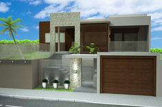 60 Modelos de muros residenciais – Fotos e dicas Pooja Room Design, Design Exterior, Villa, Pooja Rooms, Love Home, Modern Buildings, Modern House Design, Home Fashion, House Plans