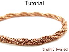 Slightly Twisted Herringbone Bracelet Necklace PDF Beading Pattern Tutorial | Simple Bead Patterns