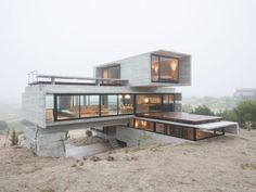 Renowned architect Luciano Kruk has designed this beautiful concrete house at a golf course in Argentina. Look at this outstanding architecture! Architecture Design, Contemporary Architecture, Concrete Architecture, Futuristic Architecture, Design Exterior, Concrete Houses, Container House Design, Container Homes, Modern House Design