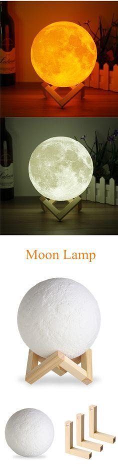 US$22.55 15cm 3D Magical Two Tone Moon Lamp USB Charging Luna LED Night Light Touch Sensor Gift