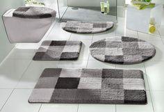 Details:  Karo-Badteppich, Trocknergeeignet, Ringsrum eingefasst, gekettelt, Fussbodenheizungsgeeignet,  Qualität:  1,6 kg/m² Gesamtgewicht (ca.), 15 mm Gesamthöhe (ca.), Waschbar bei 40°C, Latexierter Rücken,  Flormaterial:  90 % Polyester, 10 % Polyacryl,  Wissenswertes:  Die halbrunde Matte eignet sich auch ideal als Duschvorleger, WC-Deckel im 2-tlg. Set ist mit eingefasster Befestigungssch...
