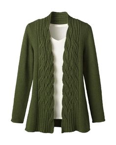 Cable cardigan from Coldwater Creek.  Like the staggered cable panel on the front -- one to adapt for a handknit.