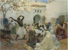 "THE CEREMONY OF THE AISSAOUI AT BLIDAH, oil on canvas, signed FREDERICK ARTHUR BRIDGMAN, 1889, 46-3/4 x 63-3/4""       SOLD $1,196,057 Christie's Paris, June 20, 2013"