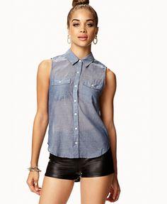 Sleeveless Chambray Shirt