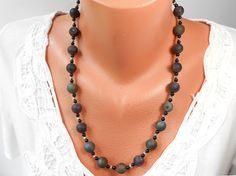 Sterling Silver Rainbow Druzy and Semi Precious Black Onyx Necklace