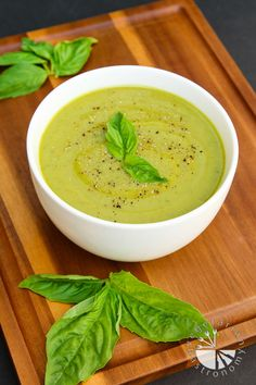 Velvety Zucchini Basil Soup (vegan, gluten-free) - Vegetarian Gastronomy | One spoonful of this soup and you'll be BEGGING for the entire pot! This Soup is a wonderful surprise. All the subtle flavors, the velvety texture, vegan, gluten-free, and only 5 ingredients.