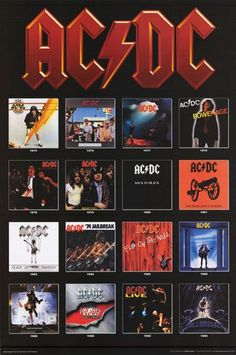 AC/DC Album Covers 1975-1995 Poster 24x36 – BananaRoad