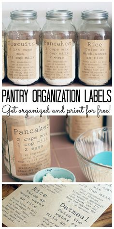 Speisekammer-Organisations-Etiketten Print these pantry organization labels for free and add to your kitchen. Labels include recipe so everything can be stored in jars or air tight containers. - Own Kitchen Pantry Farmhouse Storage And Organization, Pantry Organization Labels, Pantry Labels, Organizing Ideas, Organization Hacks, Pantry Ideas, Storage Ideas, Organising, Pantry Storage