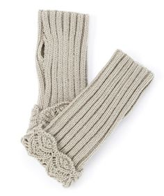 Look at this #zulilyfind! Gray Lace Texture-Trim Ribbed Hand Warmers #zulilyfinds