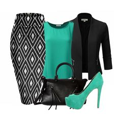 Enhance your suits with a color that pops when the mood calls for it.Today's look includes a printed pencil skirt, an open front blazer, a Jessica Simpson JS-Carri platform pump, a Nine West City Zip handbag and a Doublju loose fit top in Jade. Classy Outfits, Chic Outfits, Professional Outfits, Business Outfits, Work Attire, Work Fashion, Dress To Impress, Ideias Fashion, Fashion Dresses